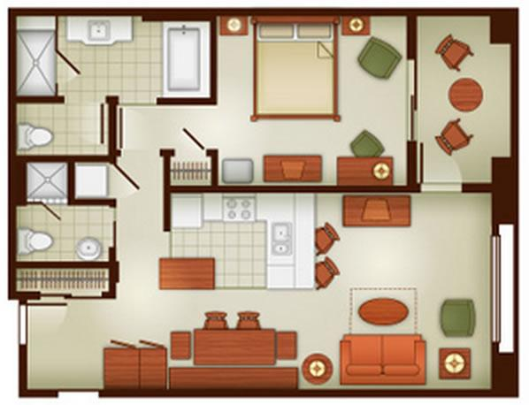 grand-californian-villas one-bedroom layout